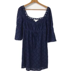 Laundry by Design Navy Blue Floral Lace Dress